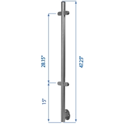 "Side Flange Line Post 39-3/8"" W/4 Glass Clamps metal cable systems, glass panel system, he key, inox railing system, stainless steel railing, railing system, ts distributors, inox cable system, inox, inox steel railing, stainless steel tube handrail fittings, wooden handrails, wooden fittings, stainless post an wall handrail supports"