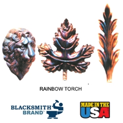 Blacksmith Brand Rainbow Torch Metallic Finish blacksmith brand, gravity feed HVLP spray gun, Aervoe, heat resistant enamel, spra-tool, metallic finishes, brite galvanized coating, wrought iron, touch up brushes, painters masking tape, paint respirator kit, paint mitt, pipe painter, welding respirator, patina oxidizer, gun metal blue paint, rust arrest, brass coating, acrylic sealer, shop coat primers, paint for galvanized metal, paint for galvanized aluminum, rust inhibitive primer