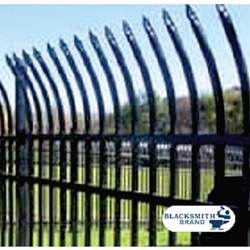 Black Pressed Curved Top/Extended Bottom Three Rail Panel black pressed curved top extended bottom three rail panel, commerical fencing, curve top fencing, extended bottom panels, three rail panels, 3-rail panels, custom gates, custom fencing, walk gates, fence panels, designmaster, blacksmith brand, ts distributors