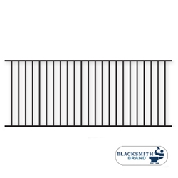 Black Flat Top/Flat Bottom Two Rail Panel black flat top /flat bottom two rail panel, 2-rail panel, extended pickets, custom fencing, fence panels, fence accessories, fence hardware, weldable, custom gates, galvanized, powder coated, ts distributors