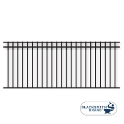 Black Flat Top/Flat Bottom Three Rail Panel black flat top /flat bottom three rail panel, 3-rail panel, extended pickets, custom fencing, fence panels, fence accessories, fence hardware, weldable, custom gates, galvanized, powder coated, ts distributors