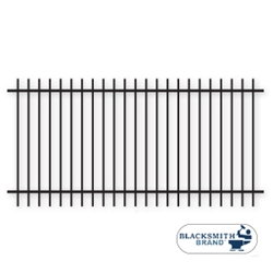 "Black Extended Top/Bottom Two Rail Panel-1½"" black extended top extended bottom two rail panel, 2-rail panel, 1-1/2"" rails, one and a half inch rails, extended pickets, custom fencing, fence panels, fence accessories, fence hardware, custom gates, weldable, galvanized, powder coated, ts distributors"