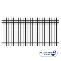 "Black Extended Top/Bottom Three Rail Panel-1½"" black extended top extended bottom three rail panel, 3-rail panel, 1-1/2"" rails, one and a half inch rails, extended pickets, custom fencing, fence panels, fence accessories, fence hardware, custom gates, weldable, galvanized, powder coated, ts distributors"