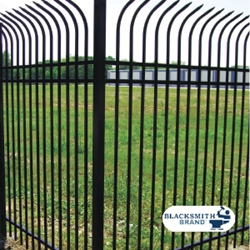 Black Pressed Point Curved-Top Fence black pressed point curved-top fence, galvanized, powder coated, custom fencing, blacksmith brand, fence panels, fence accessories, fence hardware, ts distributors