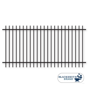 Black Extended Top/Bottom Two Rail Panel black extended top extended bottom two rail panel, 2-rail panel, extended pickets, custom fencing, fence panels, fence accessories, fence hardware, custom gates, weldable, galvanized, powder coated, ts distributors