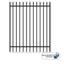 Black Pressed Spear Top/Extended Bottom Two Rail Panel black pressed spear top extended bottom two rail panel, 2-rail panel, extended pickets, custom fencing, fence panels, fence accessories, fence hardware, galvanized, powder coated, ts distributors
