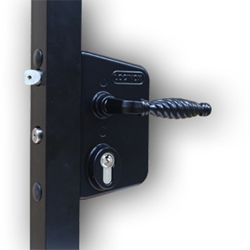 Locinox Industrial Swing Gate Lock - Black gate hardware, gate closer, lockey, adjustable hydraulic, fence, self-closing, hinge set, door closer, gate locks, swing gate, exit control hardware, deadlocking gate, free exit push, handle converter, sliding gate lock, code lock, mechanical lock, gate keeper, safety gate latch, magna-latch,  heavy-duty exit, back catch, gate latch, barrel bolt, barrel hinge, piano hinge, weldable hinge, cane bolt, drop bolt, tru-close, lokklatch, self closing hinge, magnatic latch, security keeper, locinox, bar adaptor, bat-wing hinge, steel mailbox, aluminum sliding gate track, trolley wheels, sliding door track bracket