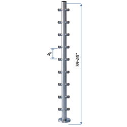 "Bottom Flange Straight 90 Corner Post 39-3/8"" W/9 Roundbar Holders flange straight line, metal cable systems, glass panel system, inox railing system, stainless steel railing, railing system"