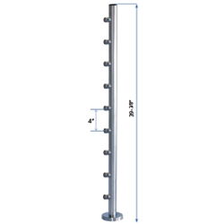 "Bottom Flange Straight Line Post 39-3/8"" W/9 Roundbar Holders flange straight line, metal cable systems, glass panel system, inox railing system, stainless steel railing, railing system"
