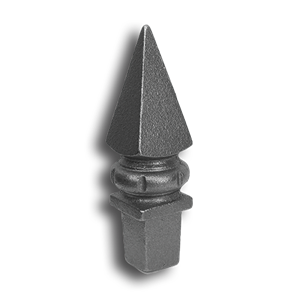 "1"" Cast Iron Spear Point Pyramid Finial cast iron spear point pyramid finial, cast iron finial, spear point pyramid finial, decorative finial, decorative post cap, cast iron post cap, metal post cap, metal finial, fence accessories, cast iron fence accessories, cast iron spear point finial, designmaster, fence posts, metal fence posts, fence post accessories, ts distributors"