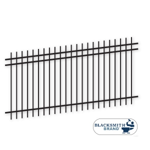 Black Extended Top/Extended Bottom Three Rail Panel black flat top extended bottom three rail panel, 3-rail panel, extended pickets, custom fencing, fence panels, fence accessories, fence hardware, galvanized, powder coated, blacksmith brand, ts distributors