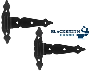 "Ornamental 8"" T-Hinges with Double Head Pin WOOD GATE SELF-CLOSING HINGE, BLACK POWDER-COATED HINGE FOR WOOD, T-HINGE, DOUBLE HEAD PIN HINGE"