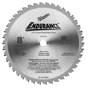 "8"" Replacement Blade Milwaukee 48-40-4515, cermet-tipped circular saw blade, carbide blade, 42 tooth saw blade, circular saw blade, endurance 8"" blade, Milwaukee 8"" blade  blade for ferrous materials 3/32-inch, pipe cutting blade, angle iron cutting blade, blade for steel studs, vibration damping, burr free cuts"